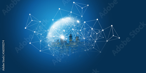 Fotografie, Tablou Futuristic Smart City, IoT and Cloud Computing Design Concept with Polygonal Mes