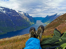 Scenic View Of A Hikers Feets ...