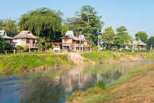 Morning View At Pai River In Pai, Mae Hong Son Province, Thailand.