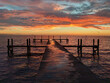 orange beautiful sunset view beach and paradise sun over colorful sky with gray clouds