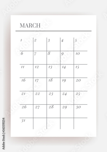 Stampa su Tela Planner sheet vector. Printable vertical notebook page