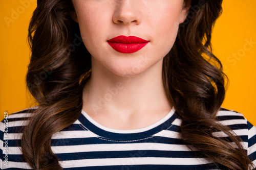 Closeup cropped photo of pretty wavy lady red bright allure tender lips perfect Canvas Print