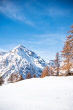 Snow Covered Mountain Against ...