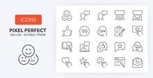 Customer Testimonials Line Icons 256 X 256