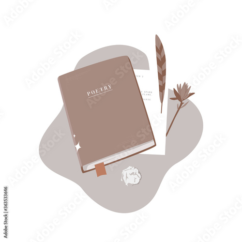 Book, feather and paper on a table. Wall mural