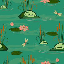 Seamless Vector Pattern With Lake Landscape On Blue Background. Waterlily And Dragonfly Wallpaper Design. Calm Water Fashion Textile.