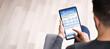 Leinwandbild Motiv Man Filling Online Survey Form On Digital Tablet
