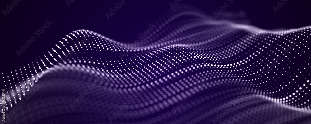 Fototapeta Abstract blue futuristic background. Big data visualization. Digital dynamic wave of particles. 3D rendering.