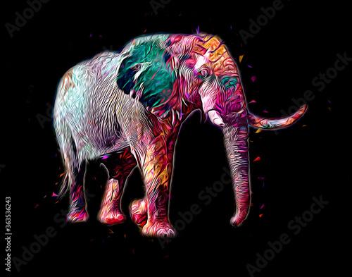 Obraz na plátně Elephant art illustration retro vintage old
