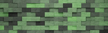 Green Rectangles 3D Pattern Background