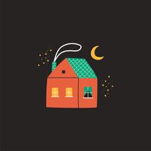 Cute Cartoon House With Smoke ...