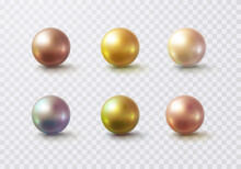 Pearl Glossy Beads Isolated On Transparent Background. Gold, Golden Rose, Holographic Balls. Vector 3d Metal Sphere, Shiny Capsules