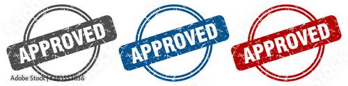 Fototapeta approved stamp. approved sign. approved label set obraz