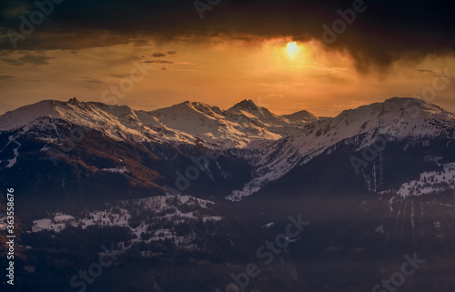 Scenic View Of Snowcapped Mountains Against Sky During Sunset Fototapeta