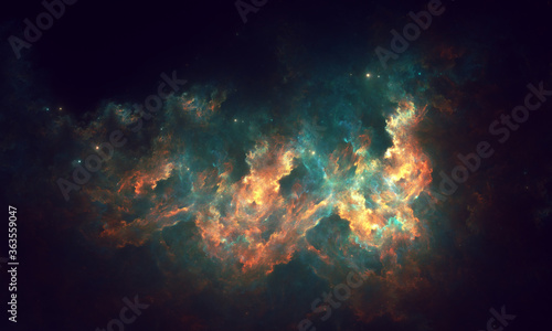 Photo Abstract starry space fractal art design on a dark background