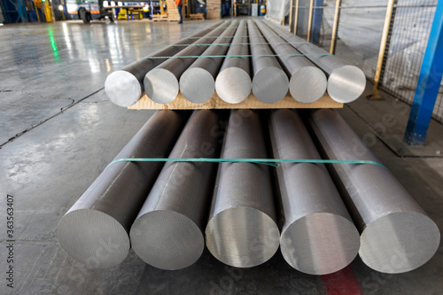 Aluminium (aluminum) production process and extrusion billets of aluminium in the factory Canvas Print