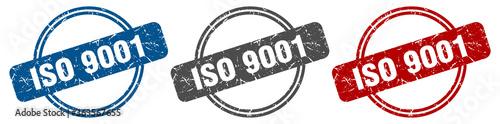 Obraz iso 9001 stamp. iso 9001 sign. iso 9001 label set - fototapety do salonu