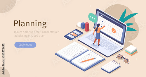 Obraz Woman Planing and Putting Check Mark on Laptop Screen. Office Desk with Planners, Organizers, Notebooks. Planning, Personal Organizer and Time Management Concept. Flat Isometric Vector Illustration. - fototapety do salonu