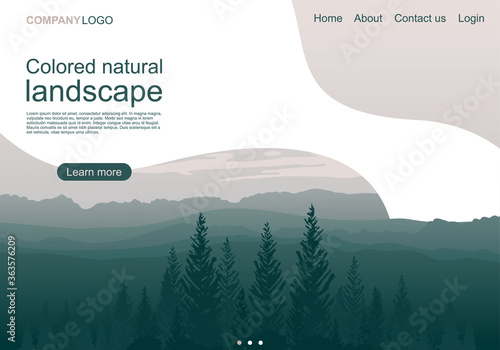 Fototapeta Colored natural mountain landscape landing page obraz na płótnie