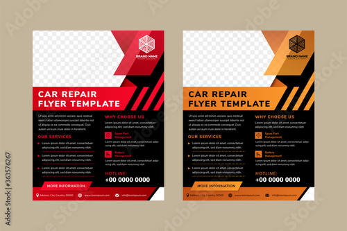 Fototapeta car repair flyer template designs with space for photo collage on top. Combination red and gold on element design, black on background, and white in text. Vertical layout of ad. diagonal shape.  obraz