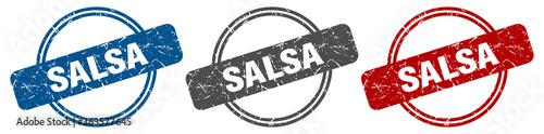 Fotografía salsa stamp. salsa sign. salsa label set