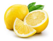 Lemon Fruit With Leaf Isolate....
