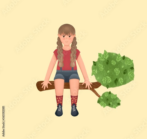 Obraz Cute little girl sitting on a tree. Beautiful scene, children book illustration. Magic drawing. - fototapety do salonu