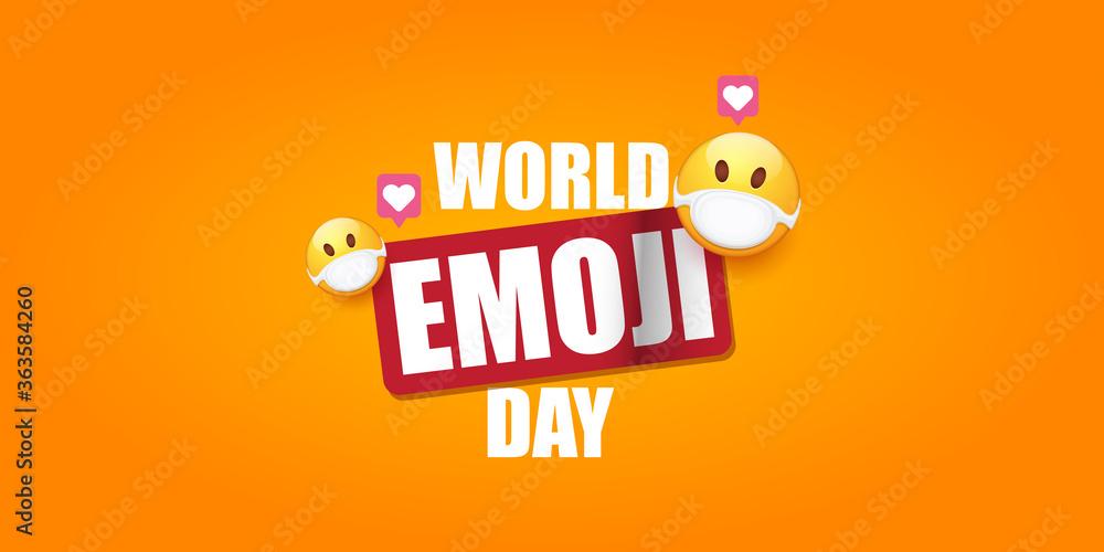 Fototapeta World emoji day greeting horizontal banner with smile face Emoji sticker with mouth medical protection mask isolated on orange background.
