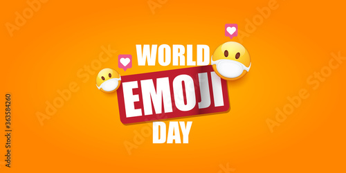 World emoji day greeting horizontal banner with smile face Emoji sticker with mouth medical protection mask isolated on orange background фототапет