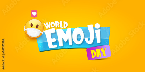 Cuadros en Lienzo World emoji day greeting horizontal banner with smile face Emoji sticker with mouth medical protection mask isolated on orange background