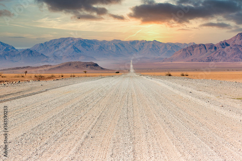 Gravel road and beautiful landscape in Namibia Wallpaper Mural