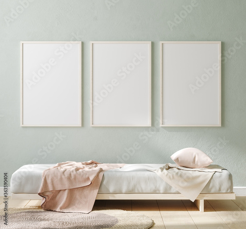 Fototapeta Mock up poster in interior background, Scandinavian style, 3D render obraz na płótnie