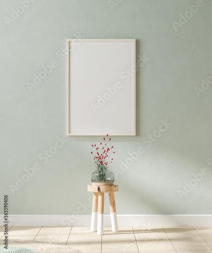 Fototapeta Mock up poster in interior background, Scandinavian style, 3D render obraz