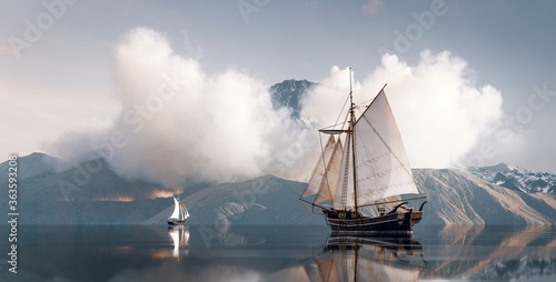 Obraz Old historical sailboat on an adventure journey to unexplored land. 3d rendering concept. - fototapety do salonu