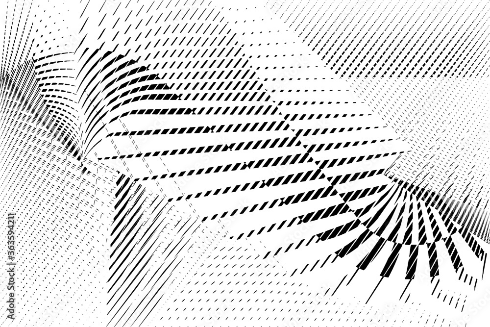 Fototapeta Abstract halftone dots and lines background, geometric dynamic pattern, vector modern design texture for card, cover, poster, decoration.