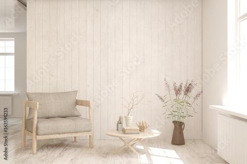 Fototapeta White living room with armchair. Scandinavian interior design. 3D illustration obraz