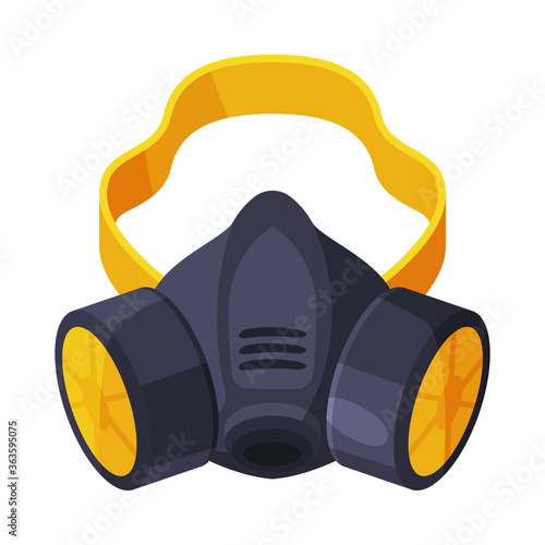 Fototapeta Gas Mask, Respirator with Filters, Pest Control Service Protective Equipment Vector Illustration on White Background obraz