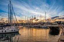 Sailboats Moored In Harbor At ...