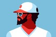 Bearded african man wearing t-shirt, baseball cap and sunglasses. Abstract male portrait, side view
