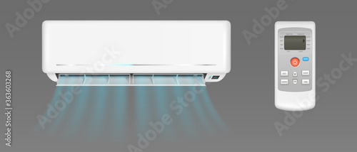 Photo Air conditioner with cold wind flows and remote control