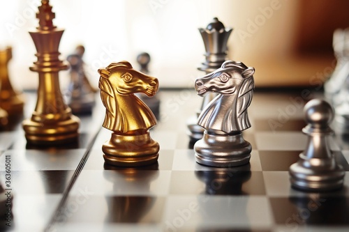 Close-up Of Chess Pieces Fotobehang