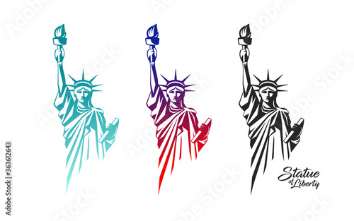 Slika na platnu The Statue of Liberty vector, in the United States, colorful collection design i