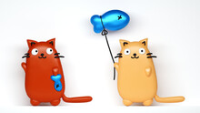 Very Cute Cat With A Balloon F...