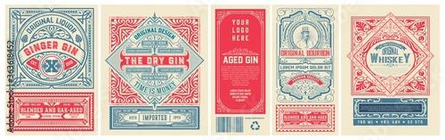 Set of 4 vintage labels for packing Fototapete