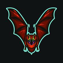 Bat Mascot Logo With A Black B...