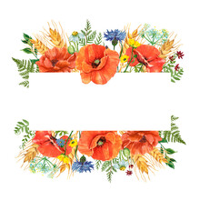 Colorful Wildflowers And Plants Frame. Watercolor Red Poppies, Wheat, Cornflower, Daisy, Buttercup Flower With Greenery And Leaves On White Background. Summer And Autumn Floral Design. Harvest Theme