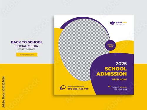 Cuadros en Lienzo Back to school admission promotion social media post banner template design