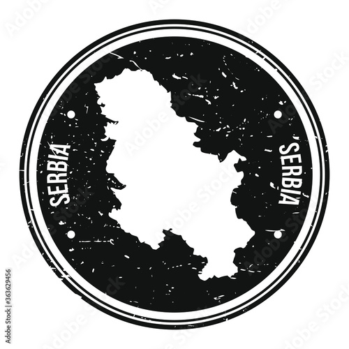 Cuadros en Lienzo Serbia Map Symbol Round Design Stamp Travel and Business Badge.