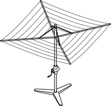 A Free-standing Rotary Clothes Line With Height Adjustment Crank.