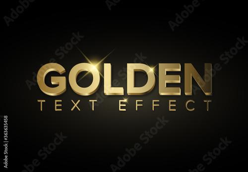 Golden Metallic 3D Text Effect with Glitter